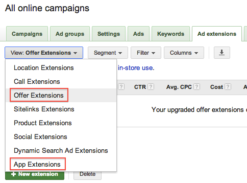 adwords offer extensions and app extensions