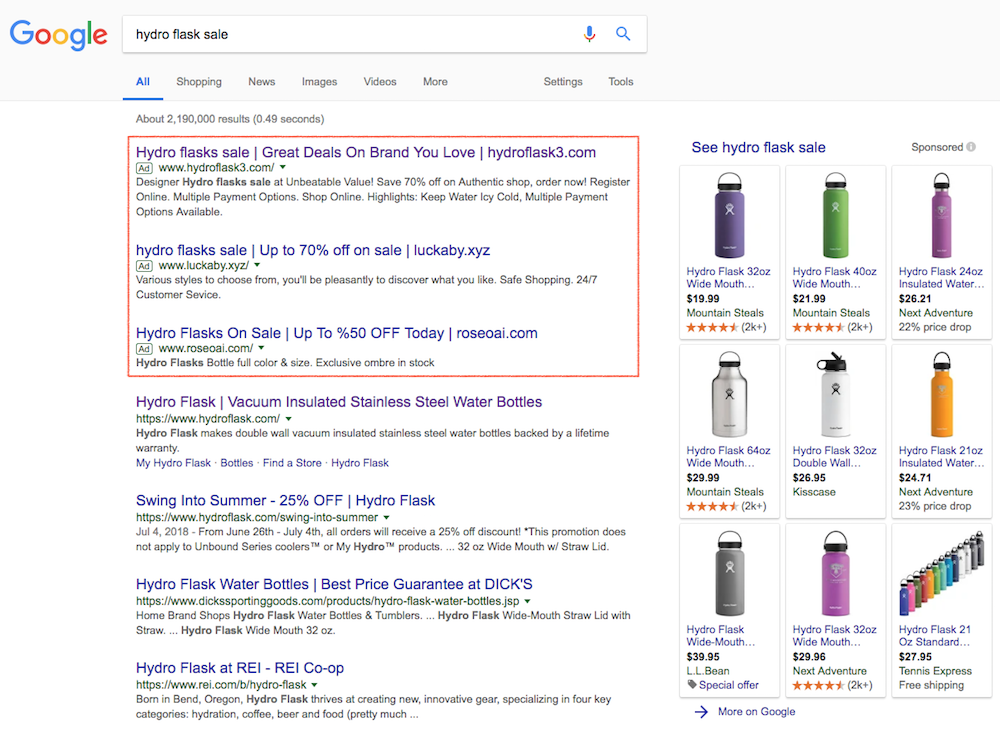 hydro flask sale serp fraud sites